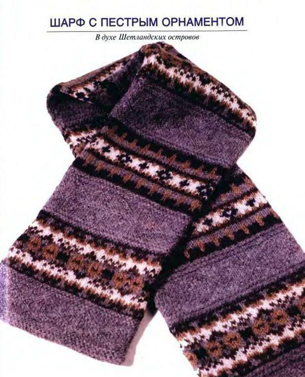 вязание спицами двухсторонних рисунков для шарфа схемы.