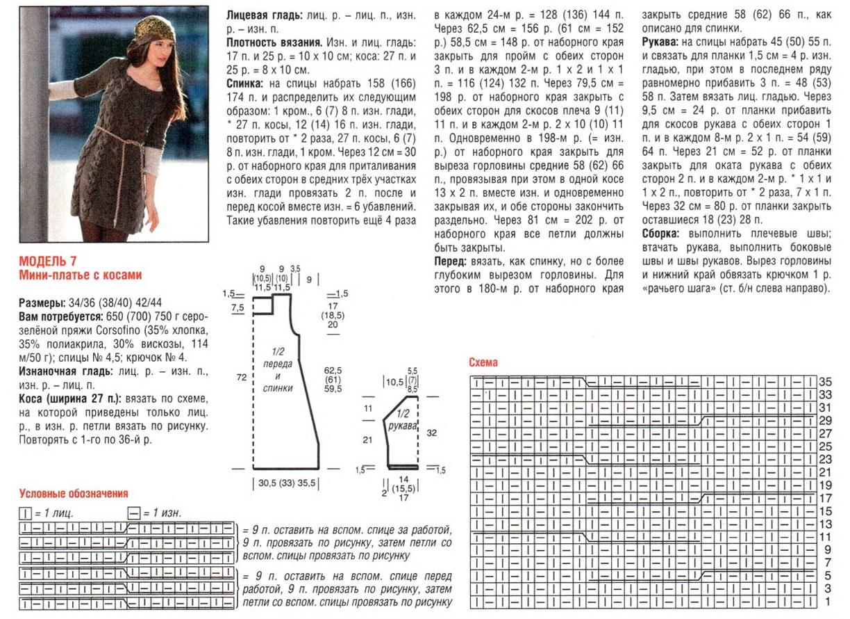 Схема вязания платья спицами фото