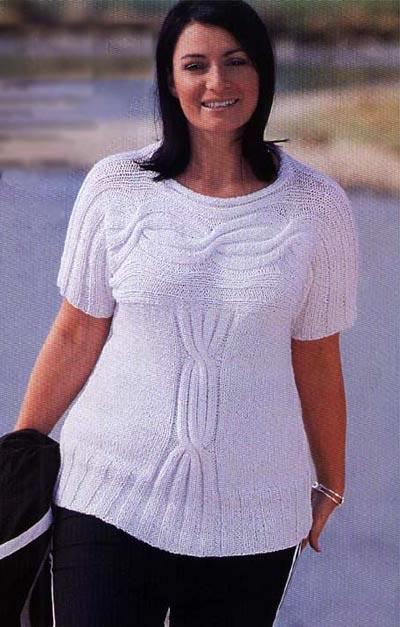 белый пуловер с косами вязание спицами вязание для полных